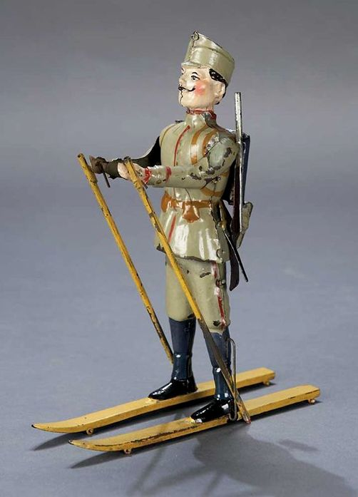 z- by Gunthermann - Painted Tin Mechanical Toy Soldier on Skis