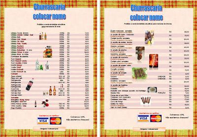 Modelo/template de menu (cardápio) editável para bar, churrascaria, restaurante - Amanhã é outro dia