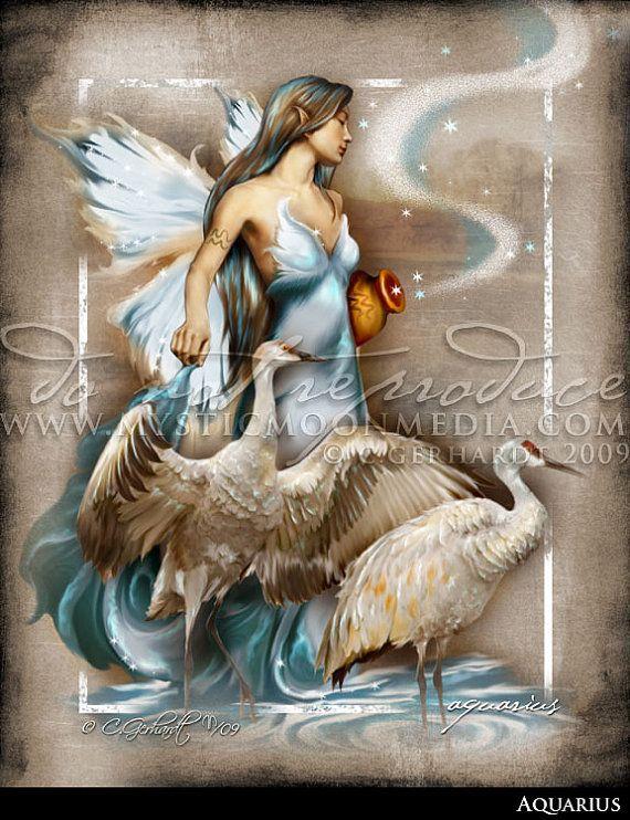 Aquarius ... ZODAIC Fairy Fantasy Art...Cranes... Fairy Art... Beautiful Fantasy Art Print
