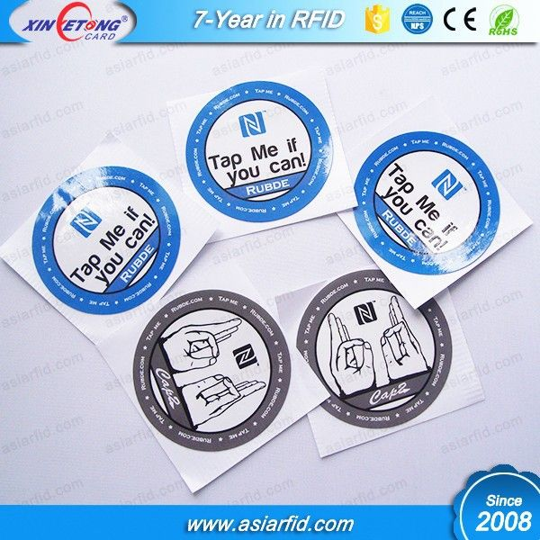 Promotional Printing N-TAG203/213/216 Adhesive NFC Tag, NFC Paper Sticker for Smart Mobile Phone, 13.56Mhz, China Manufacturer