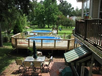Attached pool deck above ground pool decks pinterest for Above ground pool decks attached to house