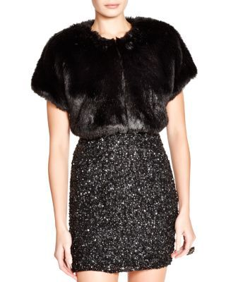 Parker Black Faux Fur Shrug | Bloomingdale's