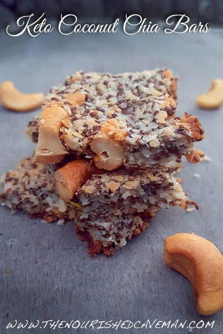 Keto Coconut Chia Bars By The Nourished Caveman - Keto Coconut Chia Bars are a delicious snack and a great way to get more fiber! Make them in batches and take them with you everywhere!