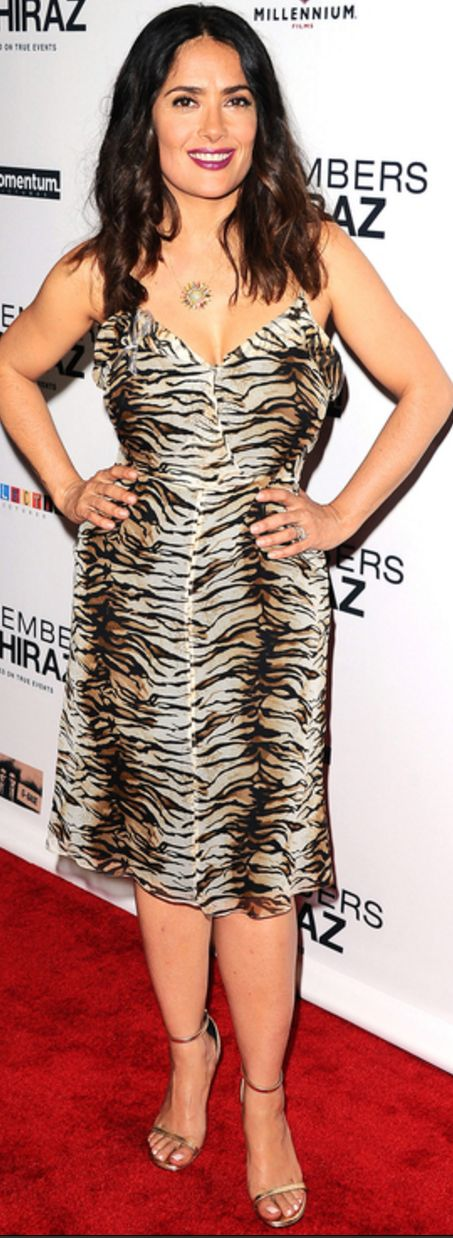Who made  Salma Hayek's tiger print dress?