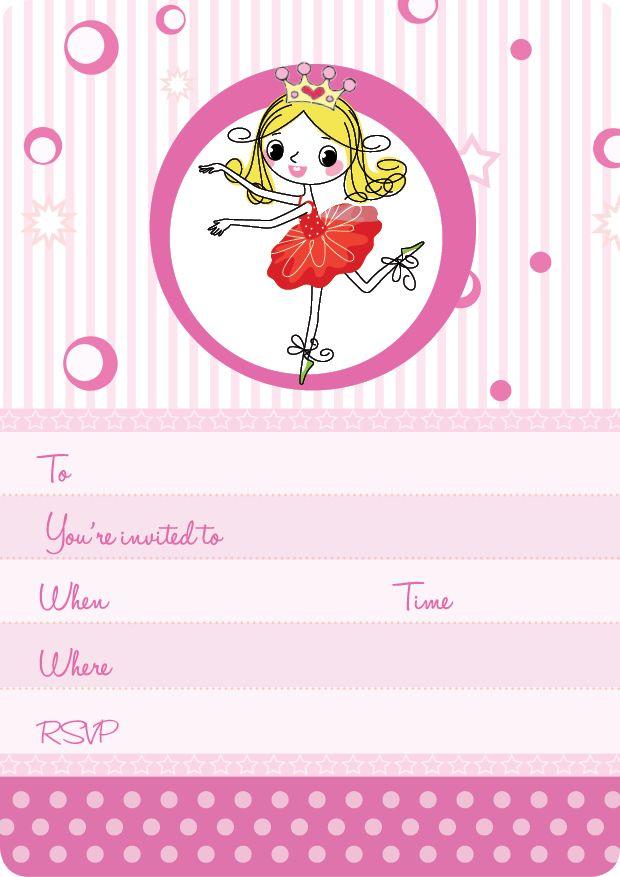 Pink Kids Party | Ballerina Invite Set- 15 invites + coordinating envelopes + magnets $17.50 Shop for it http://www.partymama.com.au/girls-invitations-ballerina-invite-set-p-7.html