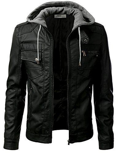 IDARBI Men's Premium PU Leather Motorcycle Fur-lined Jacket with Hood BLACK XL IDARBI http://www.amazon.com/dp/B00VQU1KPM/ref=cm_sw_r_pi_dp_vKyQwb1JHQMDM