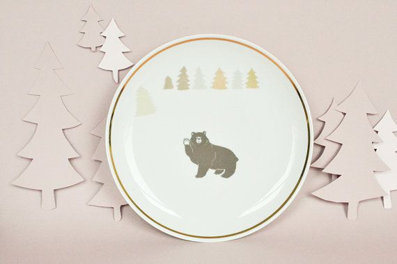 Plate with bear and trees by StudioRobinPieterse on Etsy, $32.00