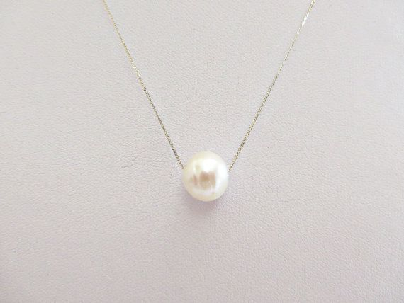 Single pearl necklace 9ct gold pearl necklace by AllthingsBAB