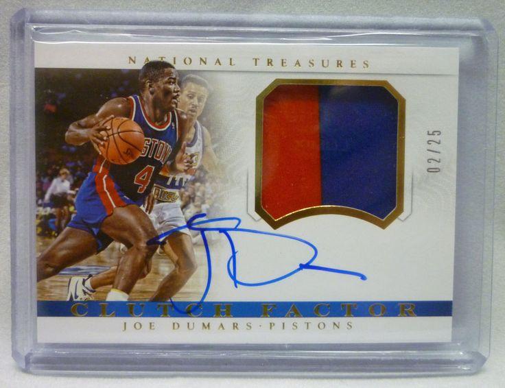 2014/15 National Treasures Basketball Joe Dumars Auto 2 Color Patch Card #02/25 #DetroitPistons