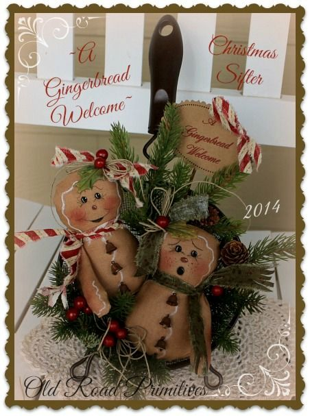 ***NEW*** A Gingerbread Welcome Christmas Sifter Pattern-Gingerbread Pattern,ePattern,Old Road Primitives,Christmas Pattern,