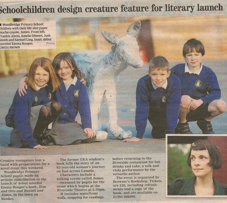 Pupils from Woodbridge Primary School have created a lifesize coyote out of paper to mark the visit of debut novelist Emma Hooper to the town this week.