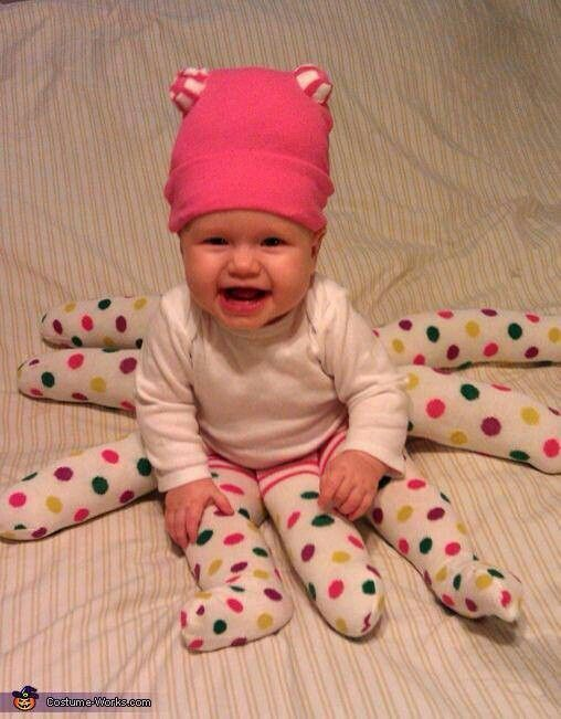 Easy infant halloween costume. This can be easily adapted into a spider by using black or brown leggings! I may try this with my (will be) 4 year old next halloween. I am picturing adding a tutu and slippers and a cute headband!