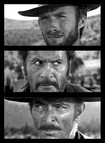 "Clint Eastwood, Eli Wallach and Lee Van Cleef ... ""The Good, the Bad and the Ugly"" (1966). A riveting tale from the wild old west!"