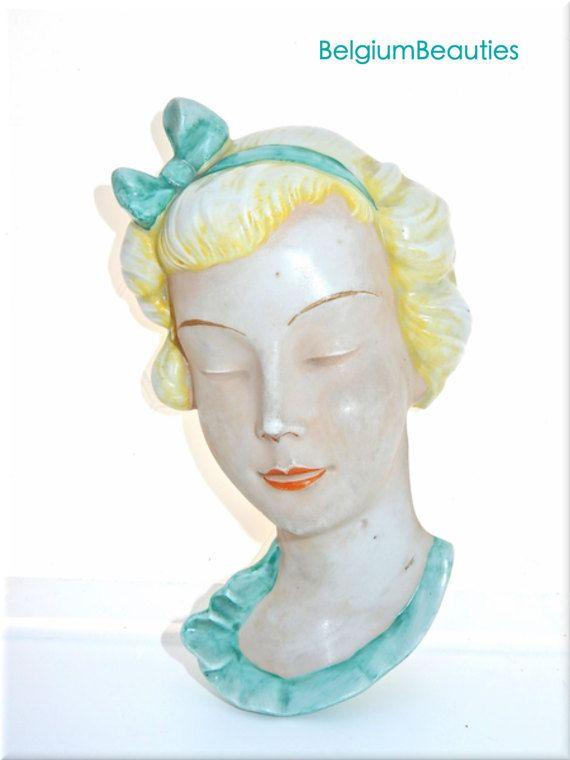 Art-Deco-Wand Maske möglich Gmundner Keramik Porzellan Austria Österreich fünfziger Jahre oder ältere Form Anzahl 10617 retro Vintage alt-Kollektion