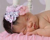 Baby Girl Headbands... Baby Headband...Pink & Gray Chevron Bow Flower Headband... Baby Bow Headband... Newborn Headband