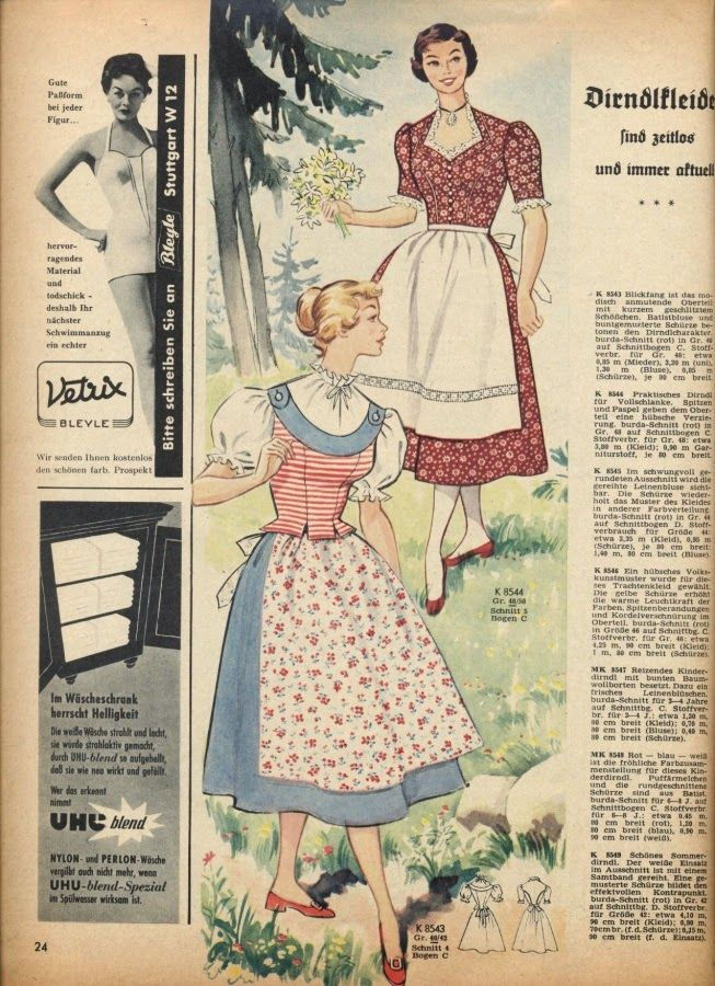 Beautiful 1950s dirndl dress styles from Europe. #vintage #dirndl #dresses #1950s #tracht