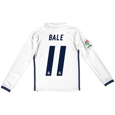 Real Madrid Home Jersey 2016/17 - Kids - Long sleeve - with Bale 11 pr: The Real Madrid Home Shirt 2016-17… #RealMadridShop #RealMadridStore