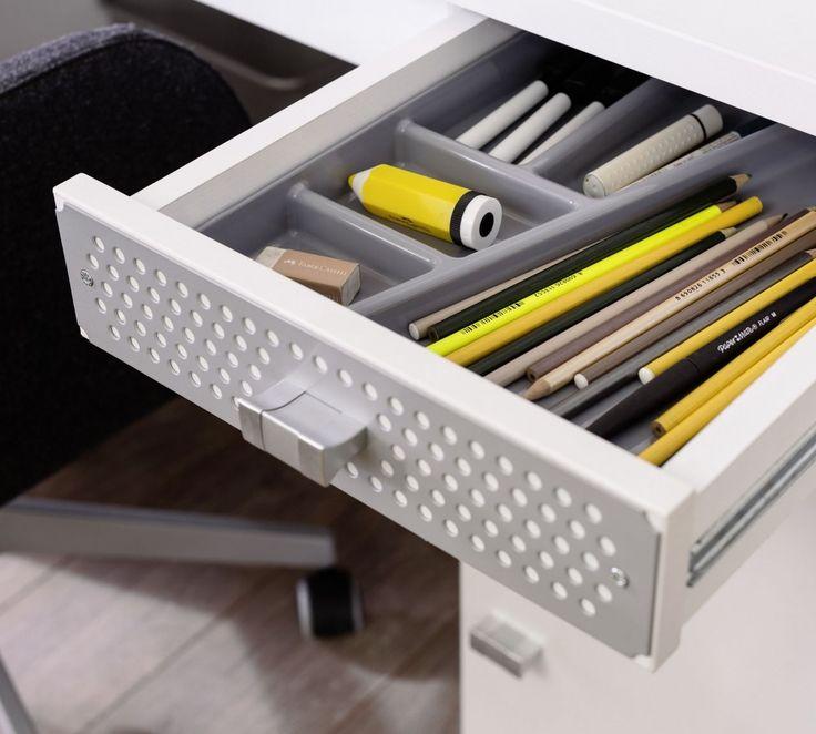 Active bureau met kast en lade met slot wit