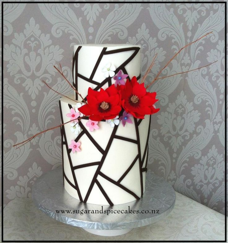 Geometric Asymmetric Wedding Cake  by Mel_SugarandSpiceCakes - http://cakesdecor.com/cakes/257600-geometric-asymmetric-wedding-cake