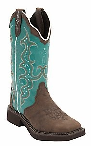 Justin® Gypsy™ Women's Distressed Brown w/Turquoise Top Triad Square Toe Western Boots. IM FREAKING IN LOVE WITH THESE