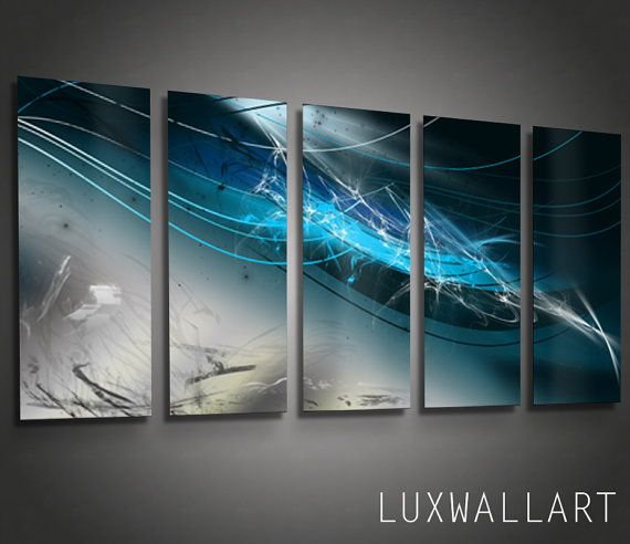 Abstract metal wall art blue abyss by luxwallart on etsy