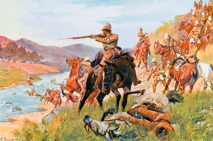 British cavalry attempting to cross a stream at the Battle of Modder River, Boer War