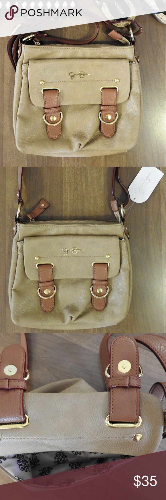 Jessica Simpson crossbody bag Authentic! Gorgeous crossbody bag from Jessica Simpson. It has pockets and a zip top closure. Never used, new with tags. A few tiny cracks on sides of the strap, nothing major, you can barely tell. Beautiful detailing on the inside of the bag. Jessica Simpson Bags Crossbody Bags
