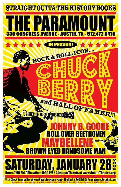 Chuck Berry 50's Poster | Type | Vintage concert posters, Rock posters, Chuck berry