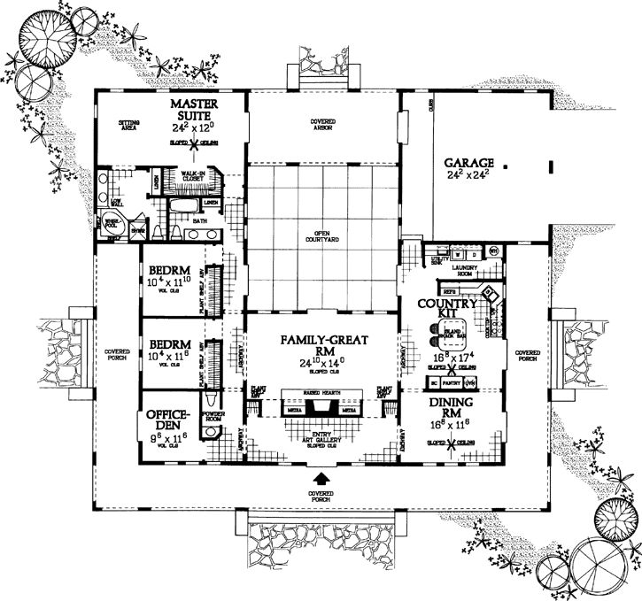 ranch style house plans 2539 square foot home 1 story 3 bedroom and ranch style houseu shaped - U Shape House 2015