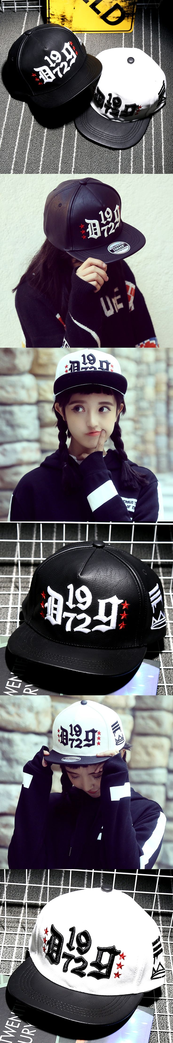 Three-dimensional Embroidery Black Man Baseball Cap Star Hiphop Boy Faux Leather Fabric Novelty Cub Casquette Quality Peaked Cap
