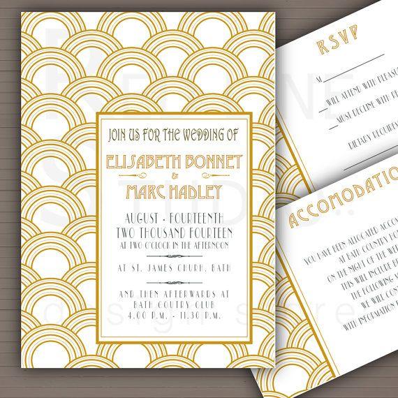 20's Wedding Invitation - Great Gatsby Wedding Invitation - twenties - printable