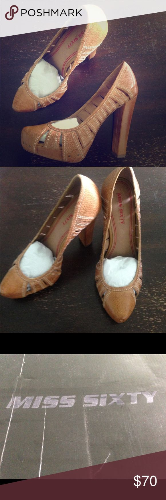 Miss sixty chunky heeled pumps Camel real leather chunky heeled pumps. 5 inch heel with platform Miss Sixty Shoes Heels