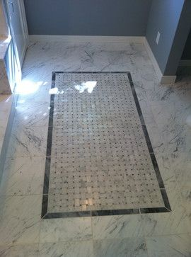 Bathroom Floor Tile Carrera Marble And Basket Weave Tiles