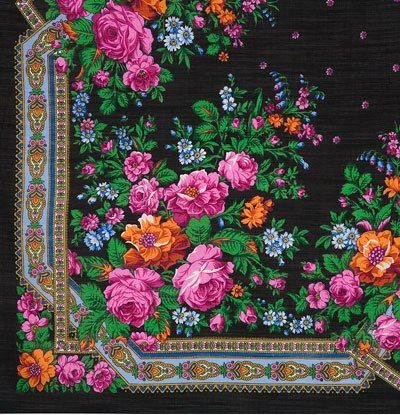 "Every Russian Pavlovsky Posad shawl has its own name. This one is called ""Roses…"