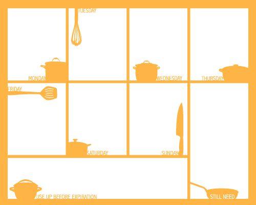 Orange Free Weekly Menu Plan Sheet