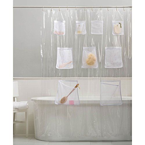 Vinyl Shower Curtain Liner With Mesh Pockets By GoodGram Price FREE