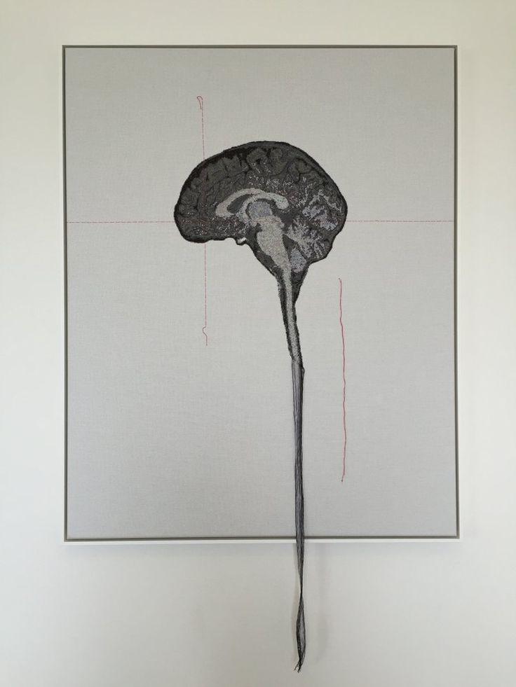 Lada Dedic Self Portrait; Artist's Brain Cross stitch on aida cloth, 2016…