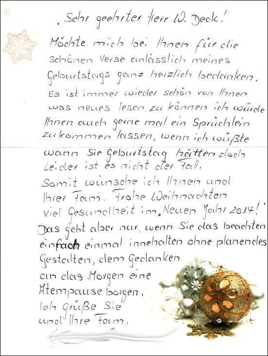Liebenswertes Dankeschön für meine Geburtstagsreime, verbunden mit ganz lieben und sehr beachtenswerten Weihnachtswünschen