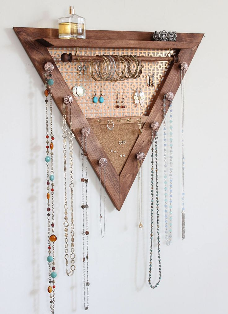Triangle Jewelry Organizer – Wooden Wall Hanging Jewelry Organizer