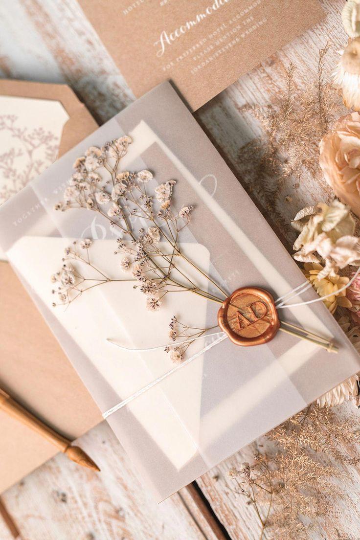 Es gibt unzählige fertige Hochzeitseinladungen zur Auswahl; nur sele …   – Bastelideen