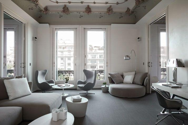 white & grey chic livingroom in Barcelona, Spain