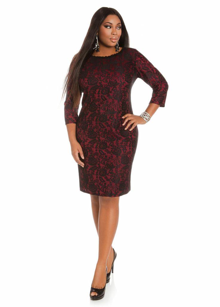 ashley stewart womens plus size boatneck flocked lace dress