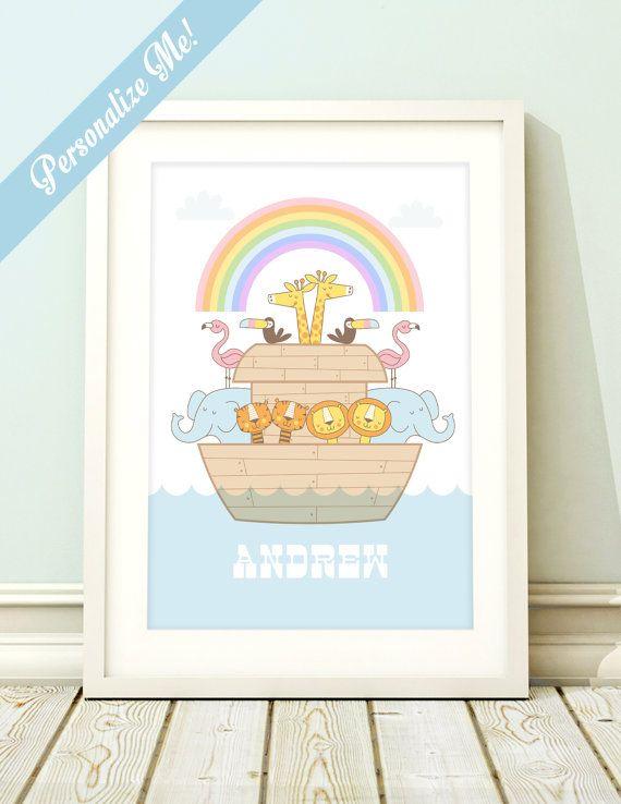 Personalized nursery art, nursery art print, Noah's Ark art, baby nursery, Noah's Ark nursery print, letter art, baby birth name