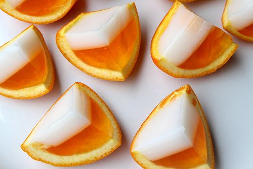 Creamsicle flavored jello-shots that look like candy corn? Awesome!
