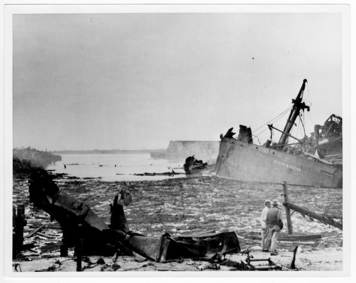 Texas City disaster. April 16, 1947 - Texas City, Texas, USA. The French ship SS Grandcamp was docked in the port with 2,200 tons of ammonium nitrate. A mid-morning fire on board detonated the explosive cargo with a devestating blast that destroyed the seaport and caused a chain reaction of explosions and fires in other ships and nearby oil-storage facilities. The disaster is considered to be one of the deadliest industrial accidents in US history, killing at least 581 people, and injuring…