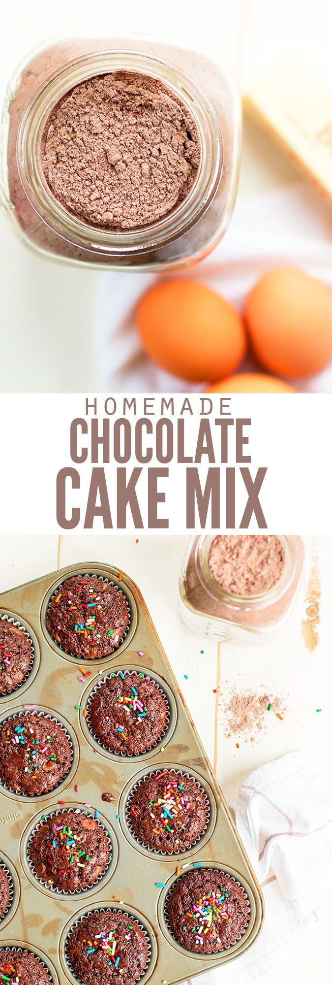 My homemade chocolate cake mix recipe is better than Betty Crocker and Pillsbury, and it's entirely from scratch! Learn how to make cake entirely from scratch using ingredients you already have in the pantry and my instructions. It's SO moist and delicious, you'll never go back to unhealthy boxed cake mixes again! :: DontWastetheCrumbs.com
