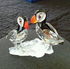 SWAROVSKI CRYSTAL PUFFINS RETIRED 261643 W/BOX MINT CONDITION