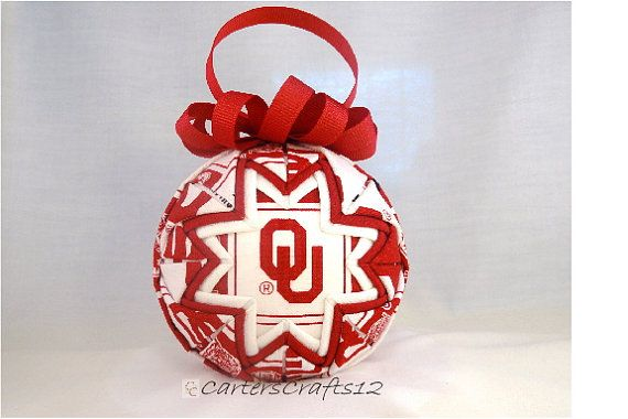 University of Oklahoma (OU) Quilted Fabric Ornament (Q155)
