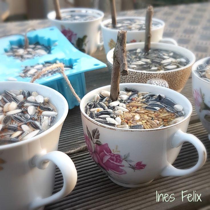 selber, machen, basteln, diy, ideen, anleitung, selber machen, Ines Felix, Vogelfutter in Tassen