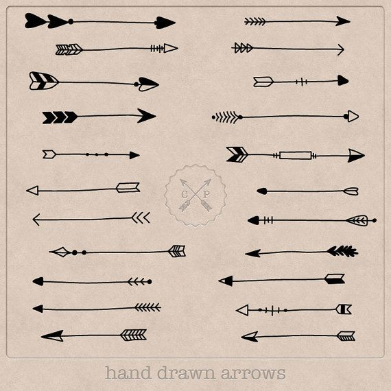 Black Hand Drawn Arrows Clipart (A set of 22). Use them for scrapbooking, graphic design or make logos from this tribal arrow clipart. on Etsy, $4.12